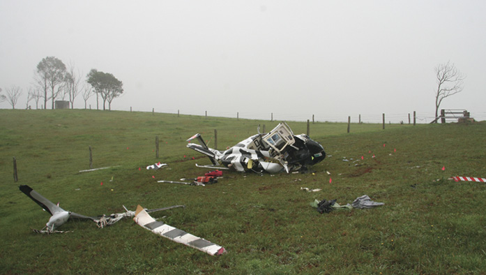 Wreckage of the Bell 206L helicopter. Source: ATSB
